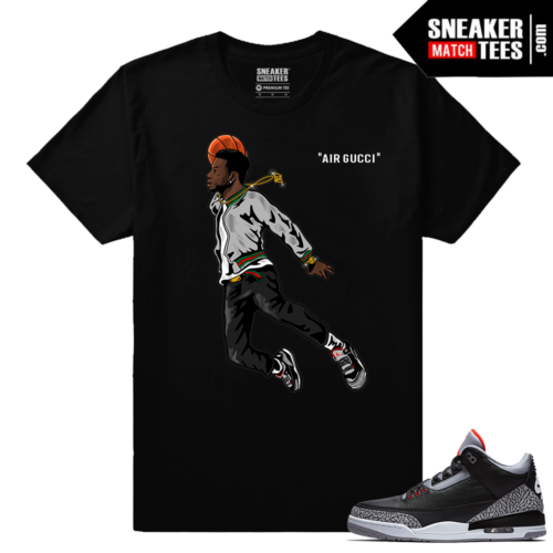 Jordan 3 Black Cement Sneaker tees Air Gucci