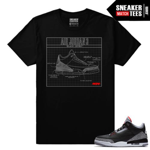 Jordan 3 Black Cement Sneaker tees BC3 Blue Print