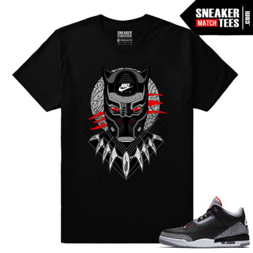 Jordan 3 Black Cement Sneaker tees Black Panther Cement