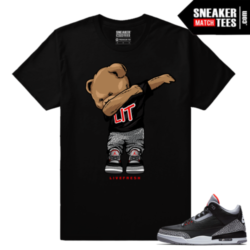 Jordan 3 Black Cement Sneaker tees Dabbin Polo Bear