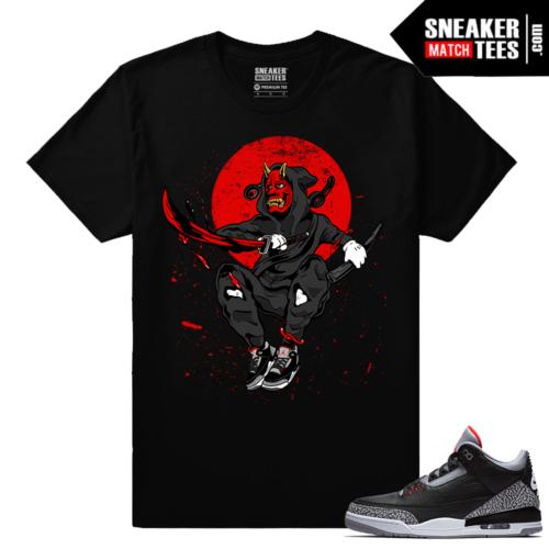 Jordan 3 Black Cement Sneaker tees Dark Samurai