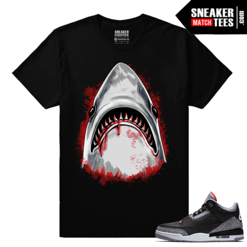 Jordan 3 Black Cement Sneaker tees Dxpe Shark