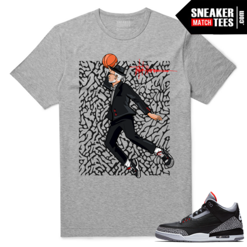 Jordan 3 Black Cement Sneaker tees Heather Grey Air Tinker