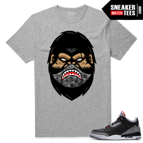 Jordan 3 Black Cement Sneaker tees Heather Grey Dxpe Ape x Shark