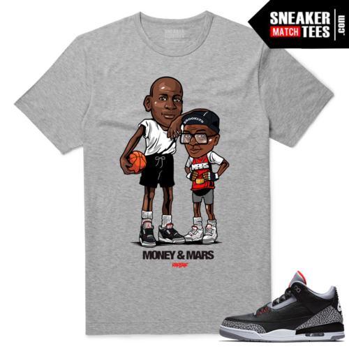 Jordan 3 Black Cement Sneaker tees Heather Grey Money & Mars