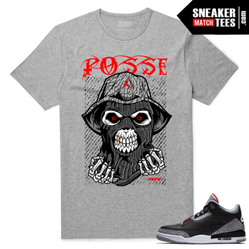 Jordan 3 Black Cement Sneaker tees Heather Grey Skull Gang Posse