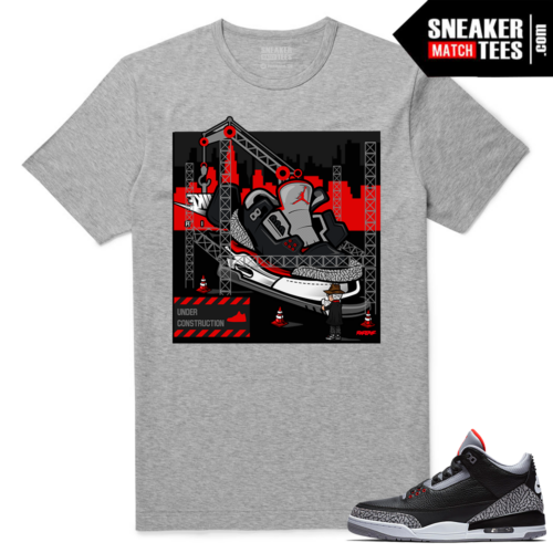 Jordan 3 Black Cement Sneaker tees Heather Grey Tinker Hatfield Architect