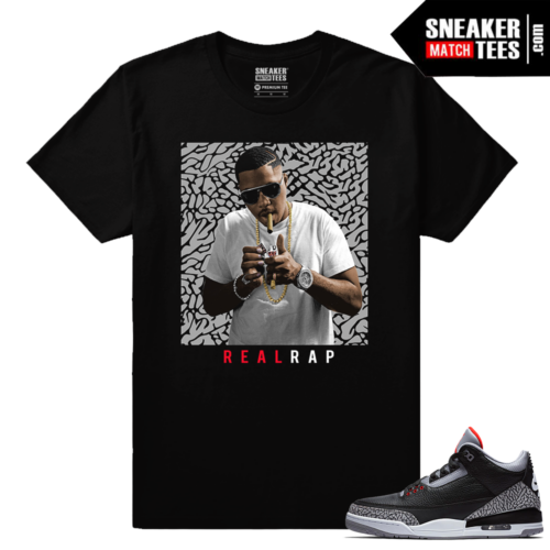 Jordan 3 Black Cement Sneaker tees Nas Real Rap