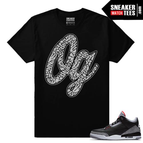 Jordan 3 Black Cement Sneaker tees OG elephant Print