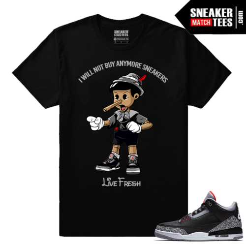 Jordan 3 Black Cement Sneaker tees Pinnochio Sneakerhead