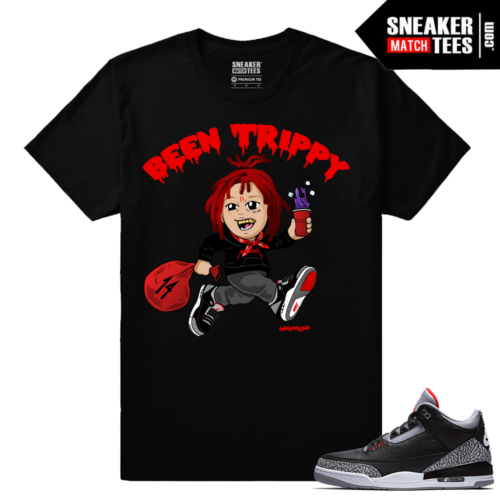 Jordan 3 Black Cement Sneaker tees Trippy Red Been Trippy