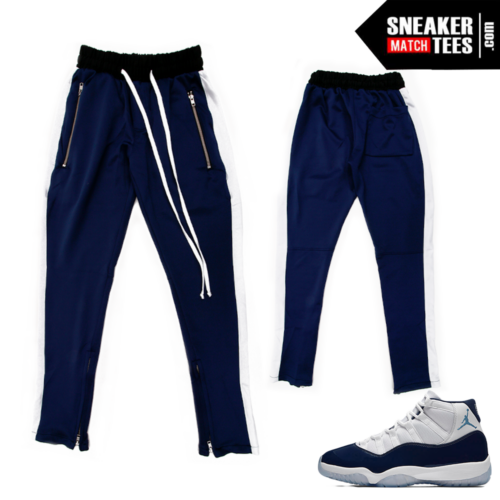 Midnight Navy 11 Stripe Track Pants Navy White Stripe