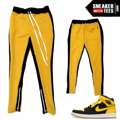 New Love 1s Stripe Track Pants Yellow Black