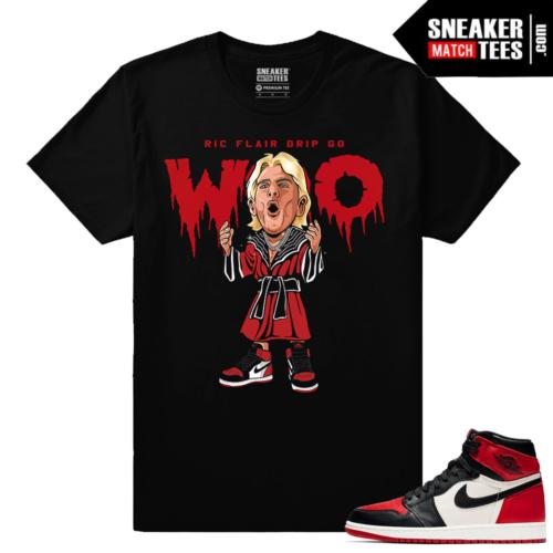 Jordan 1 Bred toe Sneaker Match Tees Ric Flair Drip Go Woo