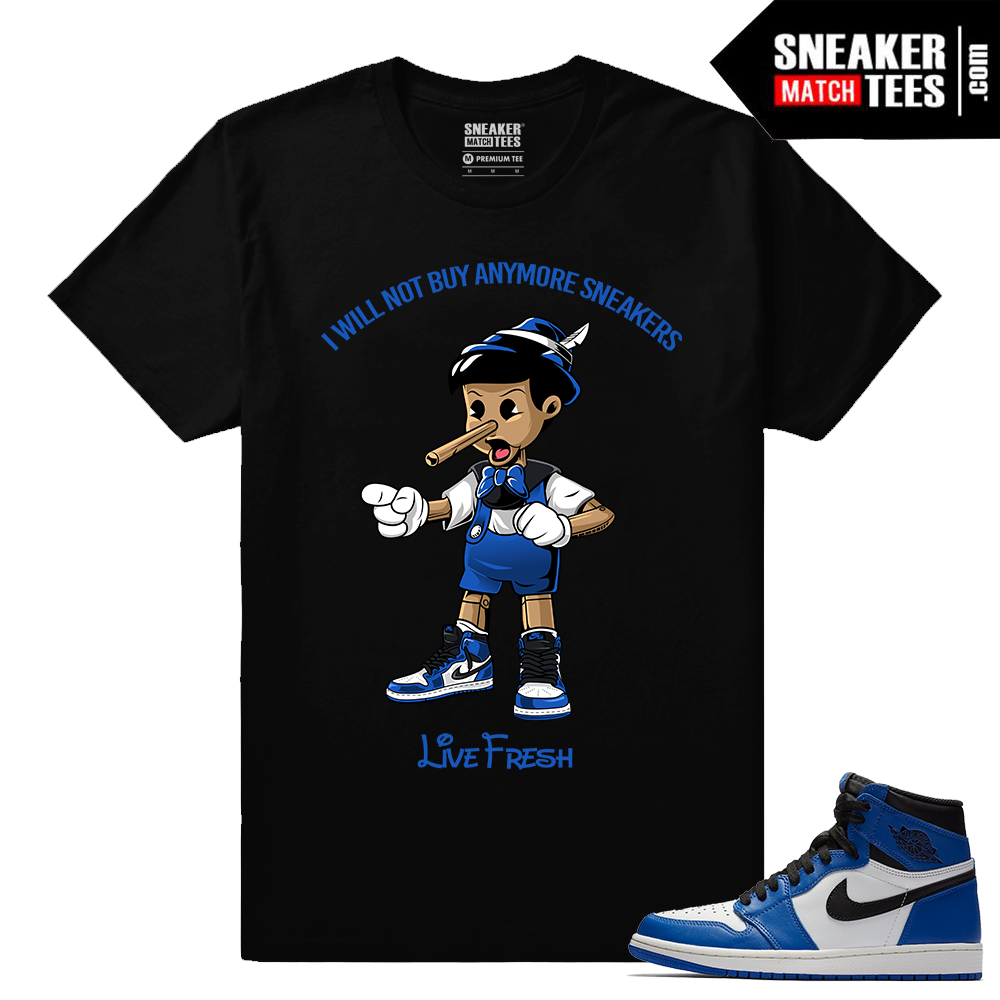 Jordan 1 Game Royal Sneaker Match Tees Black Sneakerhead Pinocchio