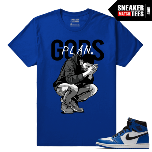 Jordan 1 Game Royal Sneaker Match Tees Royal Gods Plan