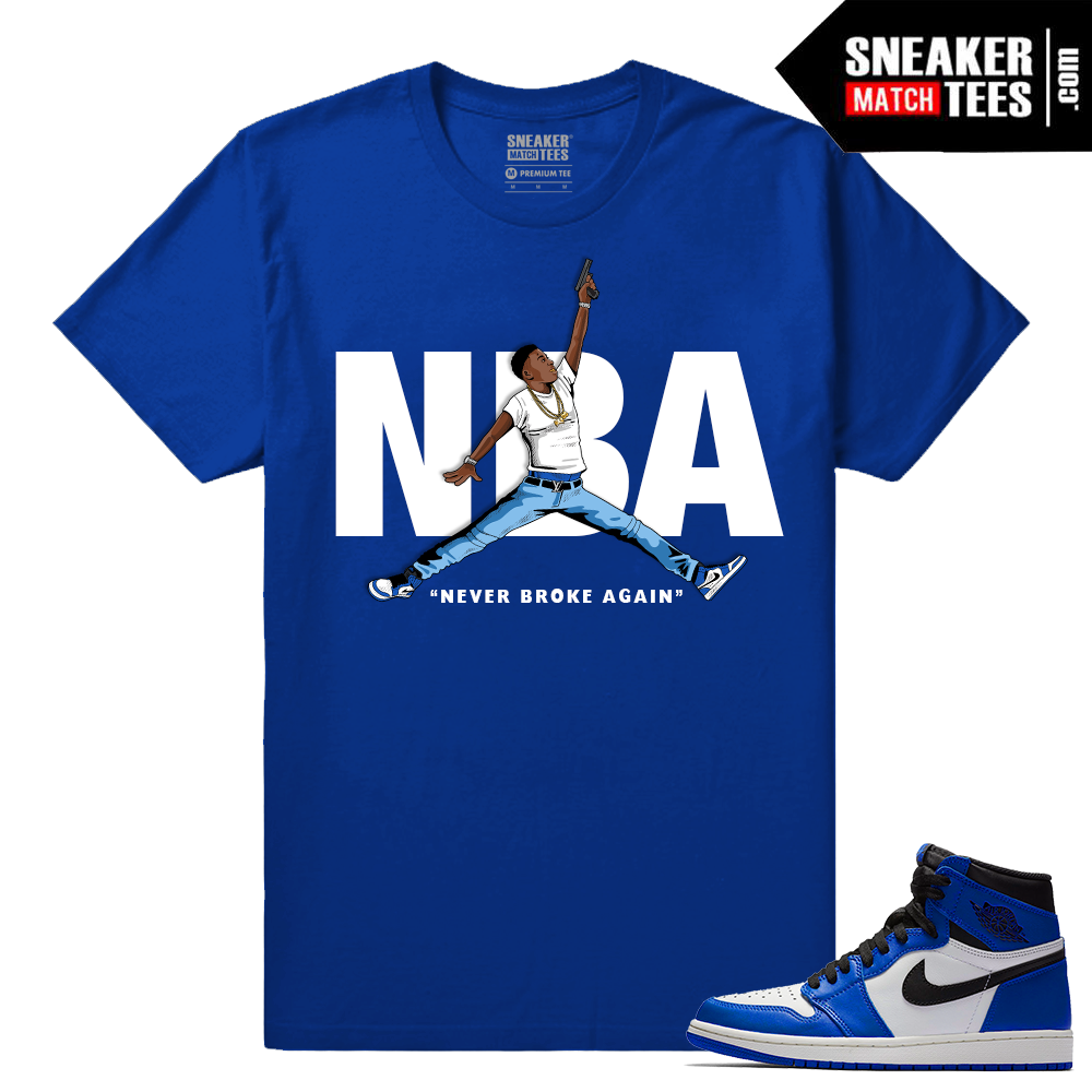 Jordan 1 game royal sneaker match tees royal nba youngboy for Jordan royal 1 shirt
