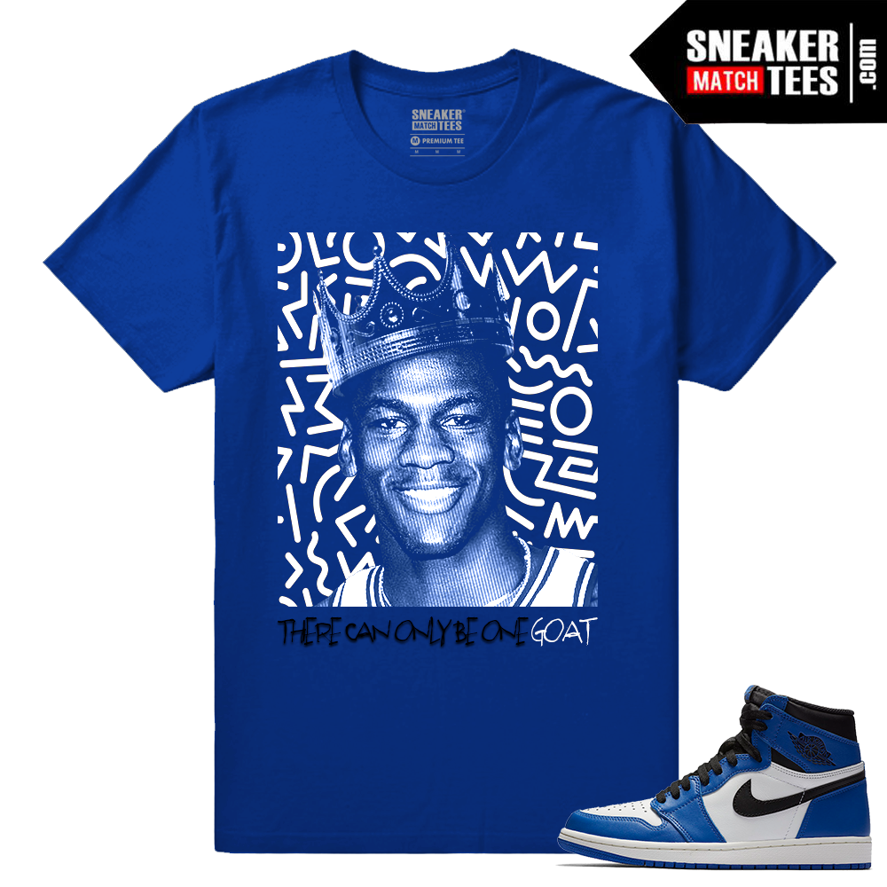 Jordan 1 Game Royal Sneaker Match Tees Royal One Goat