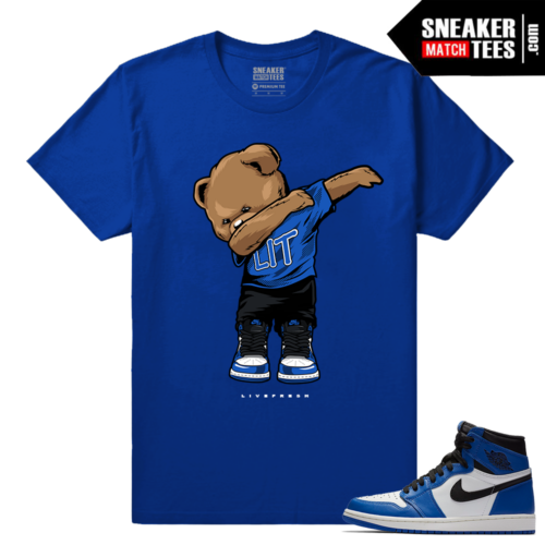 Jordan 1 Game Royal Sneaker Match Tees Royal Polo Dabin Bear