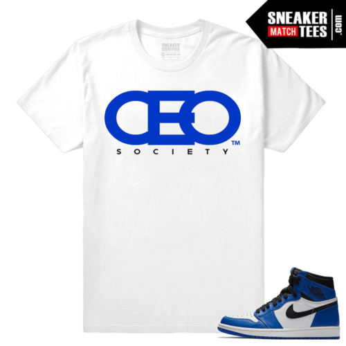 Jordan 1 Game Royal Sneaker Match Tees White CEO Society