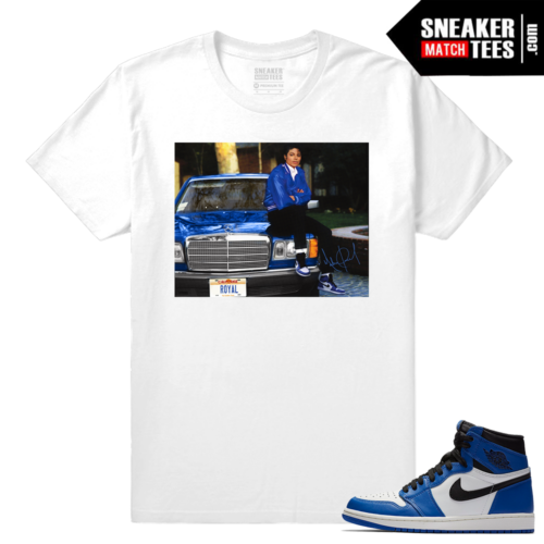 Jordan 1 Game Royal Sneaker Match Tees White MJ x Game Royal