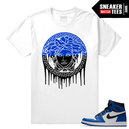 Jordan 1 Game Royal Sneaker Match Tees White Medusa Drip