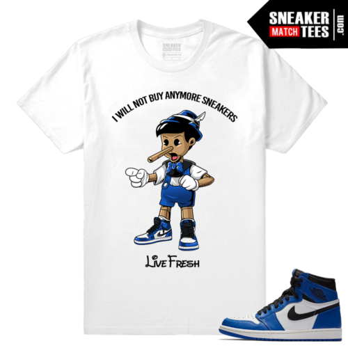 Jordan 1 Game Royal Sneaker Match Tees White Sneakerhead Pinocchio