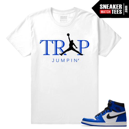Jordan 1 Game Royal Sneaker Match Tees White Trap Jumpin