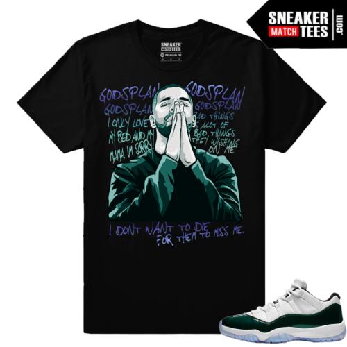 Jordan 11 Low Emerald Sneaker Match Tees Black Gods Plan Drake