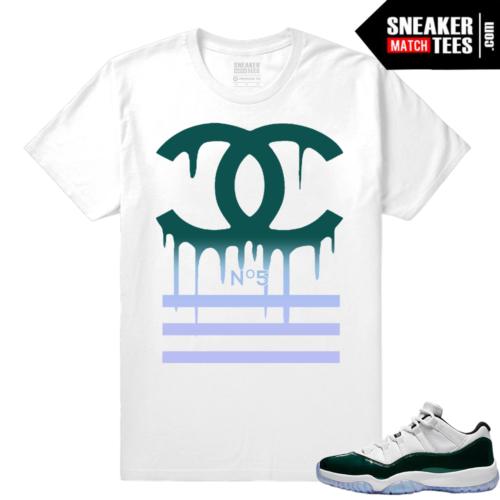 Jordan 11 Low Emerald Sneaker Match Tees Designer Drip