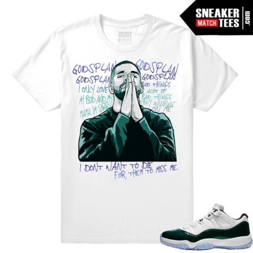 Jordan 11 Low Emerald Sneaker Match Tees Gods Plan Drake