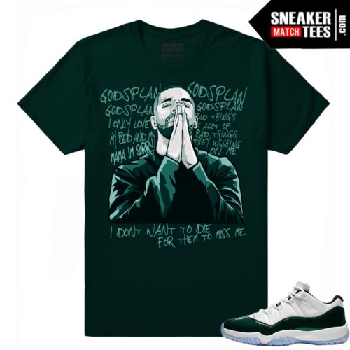 Jordan 11 Low Emerald Sneaker Match Tees Green Gods Plan Drake