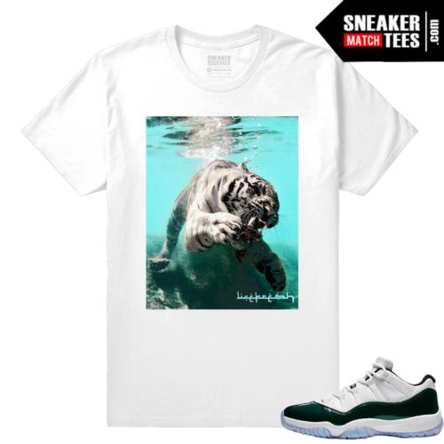 Jordan 11 Low Emerald Sneaker Match Tees Tigers Wave