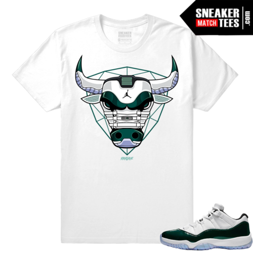 Jordan 11 Low Emerald Sneaker Match Tees White Bull 11s