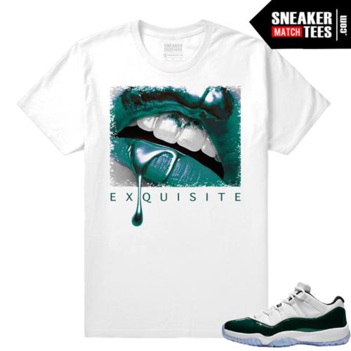 Jordan 11 Low Emerald Sneaker Match Tees White Exquisite Lips