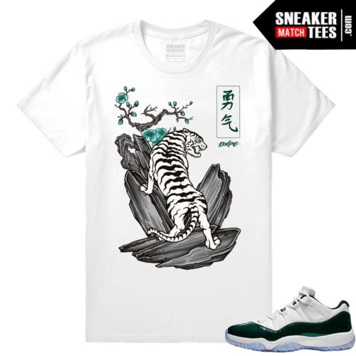 Jordan 11 Low Emerald Sneaker Match Tees White Tiger