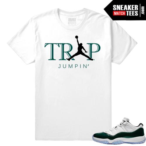 Jordan 11 Low Emerald Sneaker Match Tees White Trap Jumpin