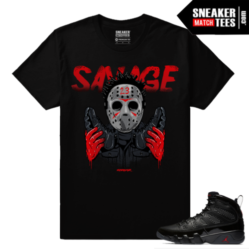 Jordan 9 Bred Sneaker Match Tees Black 23 Savage
