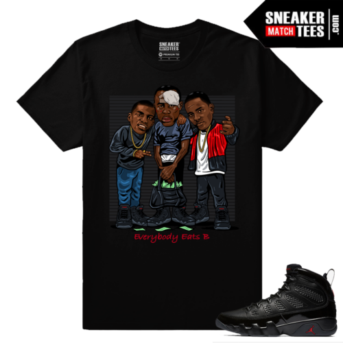 Jordan 9 Bred Sneaker Match Tees Black Everybody Eats B