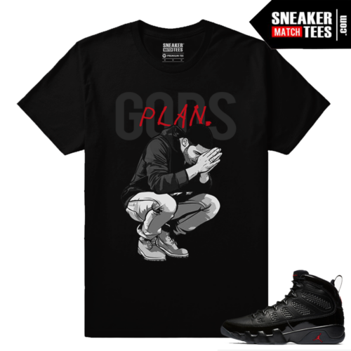Jordan 9 Bred Sneaker Match Tees Black Gods Plan