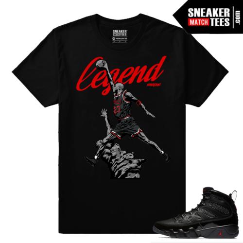 Jordan 9 Bred Sneaker Match Tees Black Rare Air Legend