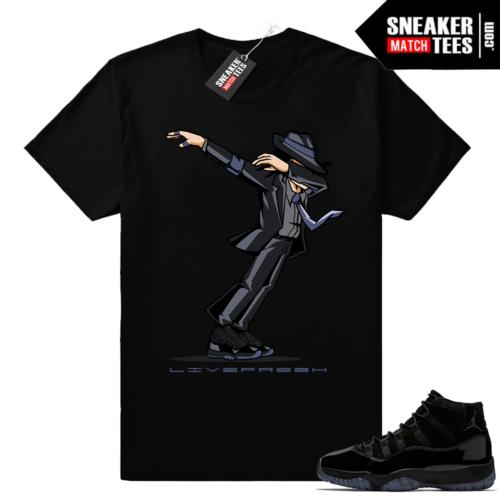 Black Jordan 11 sneaker tees Cap and Gown
