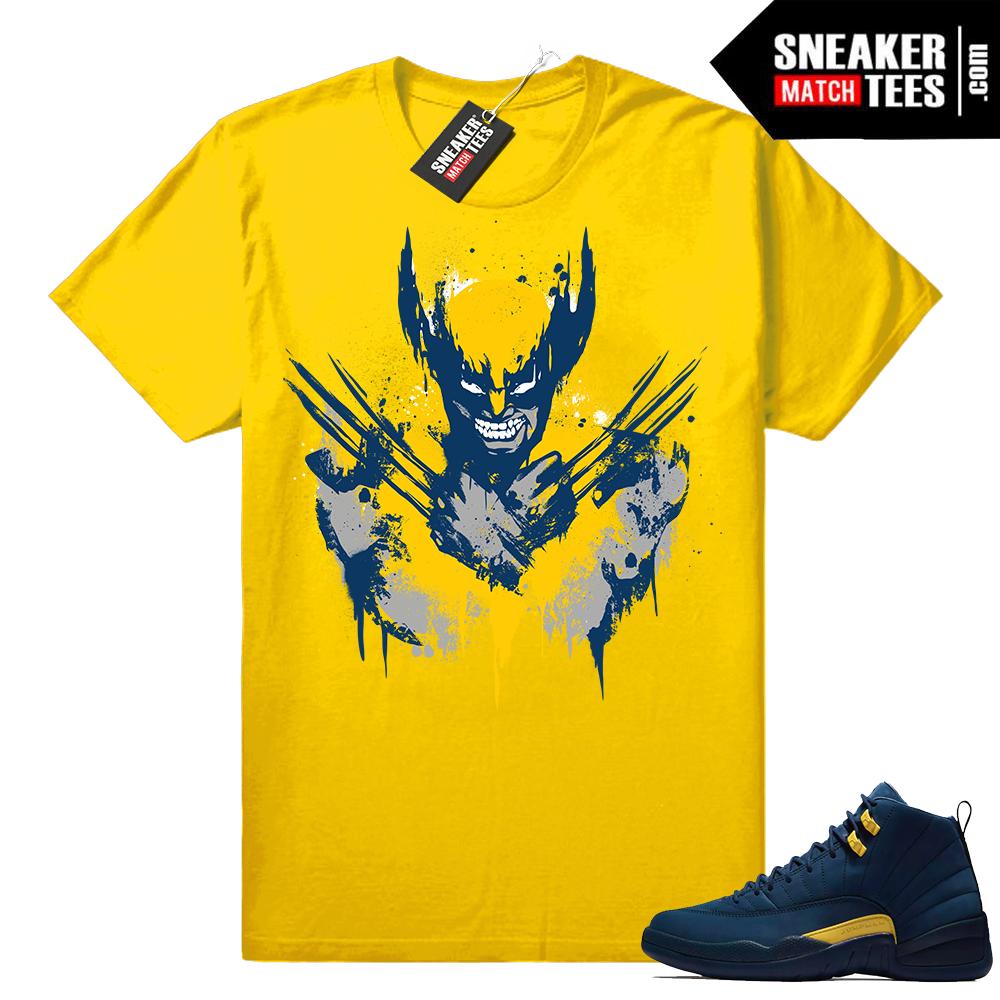 Jordan 12 Michigan shirt yellow