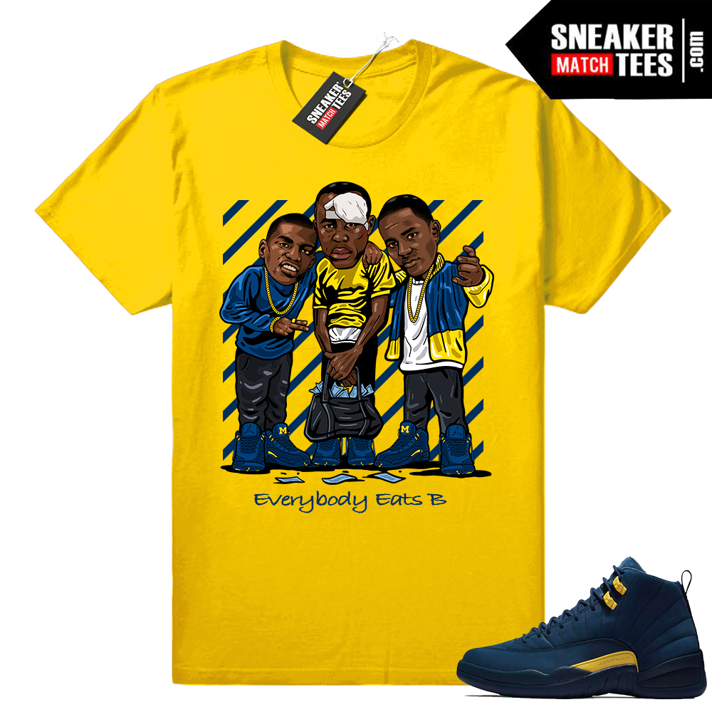 Jordan 12 matching Michigan shirts