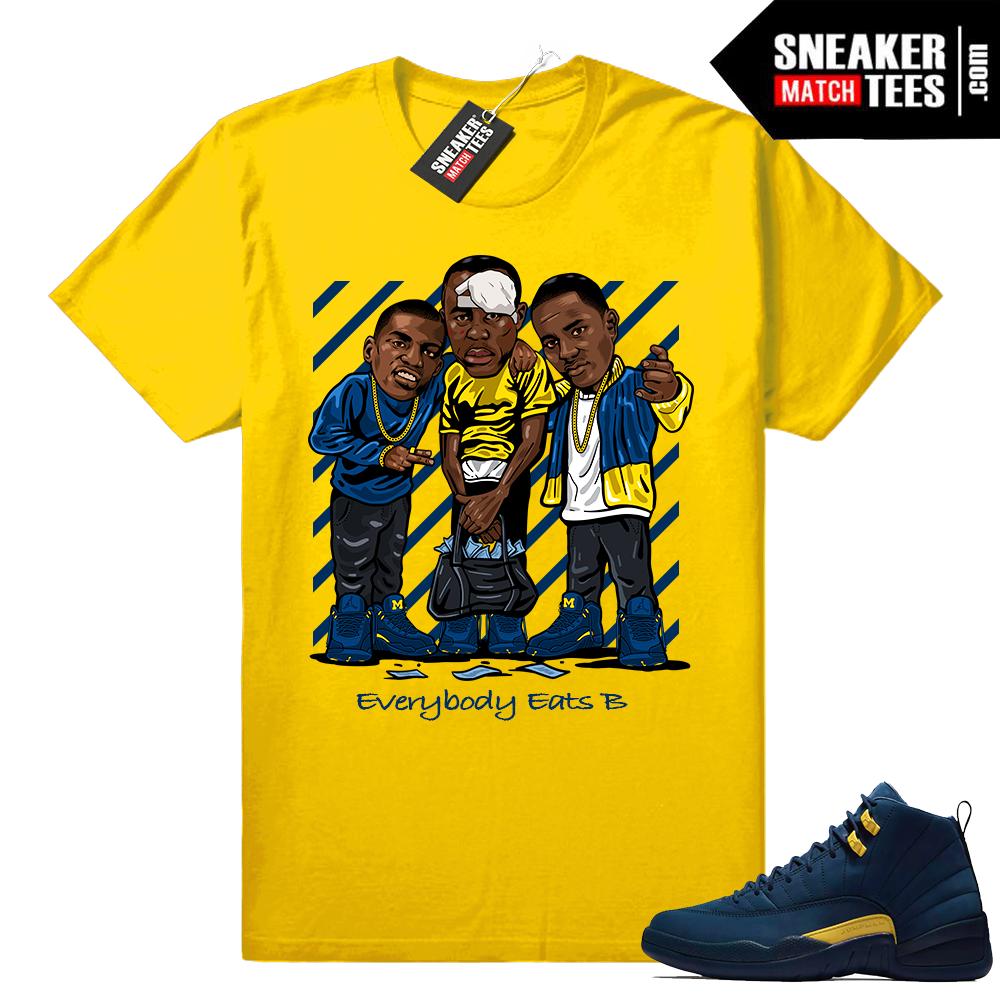 Jordan 12 matching Michigan shirts