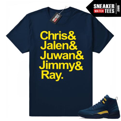 Michigan Fab 5 Navy t shirt
