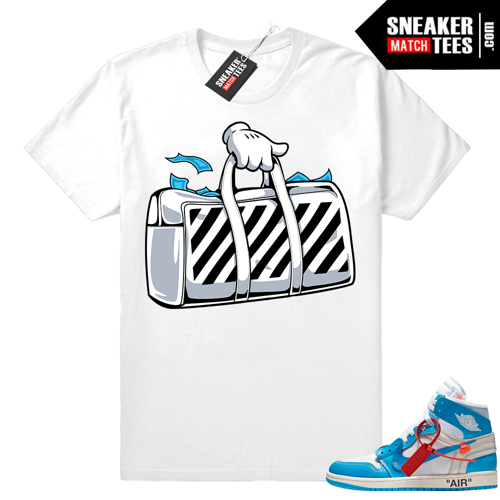 Off white Jordan 1 UNC sneaker shirt