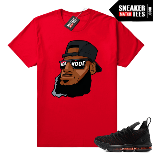 Lebron 16 Black Red Hollywood Bron shirt