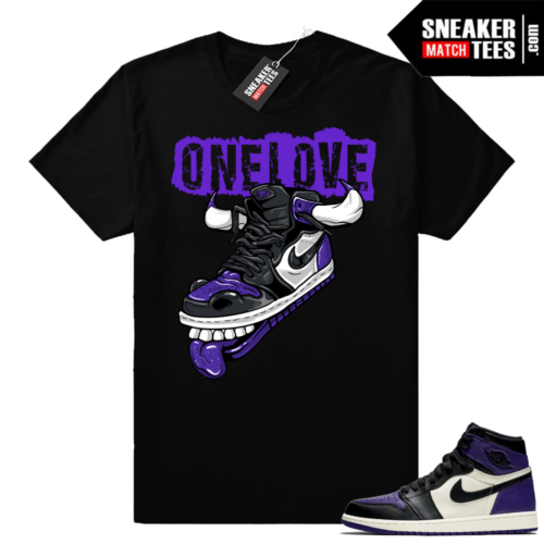 Air Jordan 1 Court Purple One Love Shirt