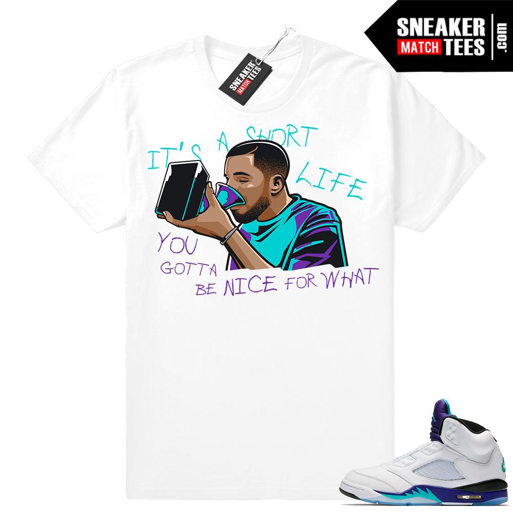 Drake Grammys Jordan 5 Grape White shirt